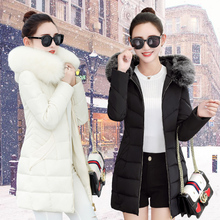 The new Korean female big feather padded winter fur collar jacket slim slim coat in the long section of code tide jacket