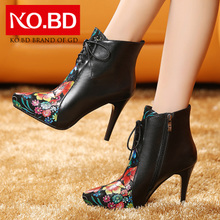Ke Baidi 9a11c high heeled shoes leather boots female party printing fine with Martin pointed boots B468