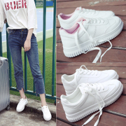 Autumn and winter all-match based white shoe Street student shoes thick soled canvas shoes with Korean velvet shoes casual shoes