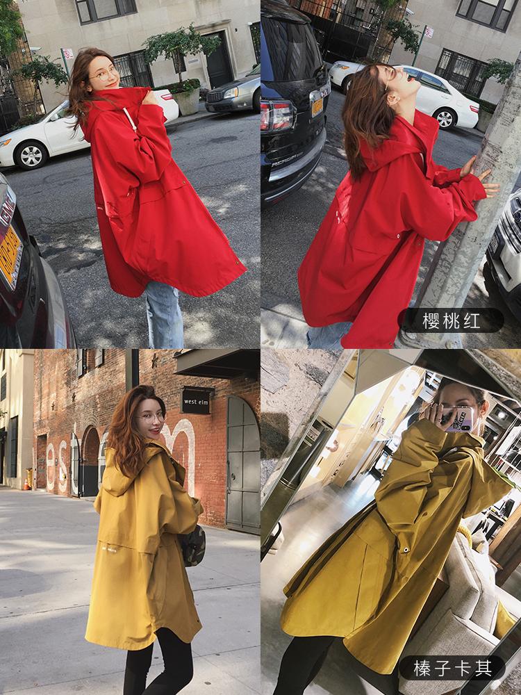 張大奕迪士尼米奇系列 連帽外套風衣秋顯瘦寬松時尚中長款上衣女