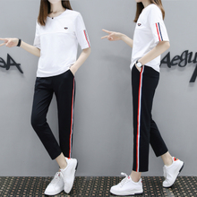 Sports suit female summer 2018 new Korean loose large size casual clothes fashion cotton short-sleeved two-piece tide