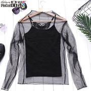 Product color coat gauze clothing shirt sling thin sexy long sleeved shirt T-shirt transparent underwear female perspective