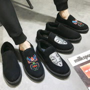 Winter Peas shoes men plus cashmere warm fast red man lazy shoes social guy shoes cotton shoes male Korean version of the trend