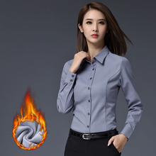 With the warm winter long sleeved shirt cashmere lady 2017 thickened Hitz occupation suit with white shirt cotton backing