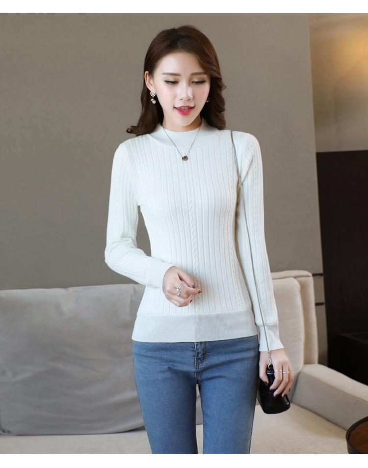 半高领加绒毛衣女士加厚针织打底衫短款冬天保暖衣服紧身2017新款