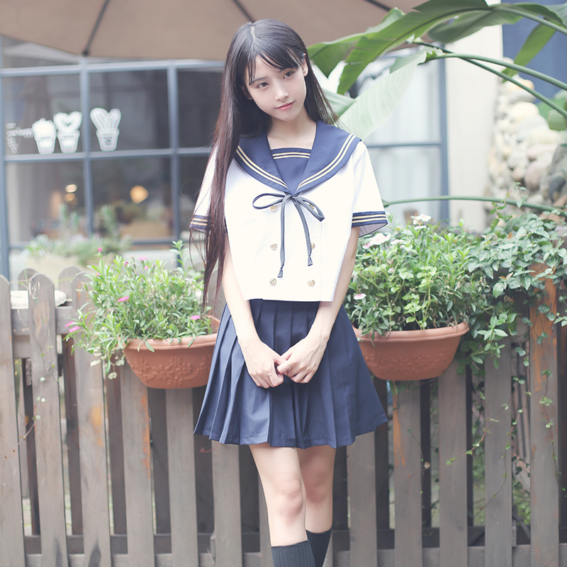 Female sailor suit students class service uniforms uniforms JK Jin Kansai three horn skirt suit.