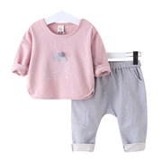 Children with 2017 new male baby girls spring spring spring sports suit 1-3-5 years old baby clothes