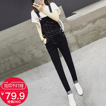 2018 Spring and Autumn New Korean version of the loose black denim Bibs female cute nine points students were thin Siamese trousers