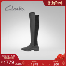 Clarks Qile women's shoes autumn and winter 2019 new pure caddy splicing low heel boots knee high boots women