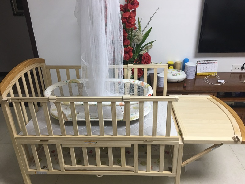 Good children, new baby beds, solid wood, environmental protection, games, cradles, mosquito nets, mattresses, multi-function bed, four MC287H