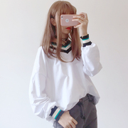 The autumn wind, Korean soft sister small fresh thread color V collar all-match long sleeve shirt sweater girl students