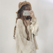 2018 summer women's Korean version of the cute girl lace loose lantern sleeve long-sleeved long sunscreen cardigan jacket