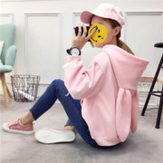Korean winter hooded cashmere hoodies with embroidery Blouse Size cute rabbit ears students loose coat