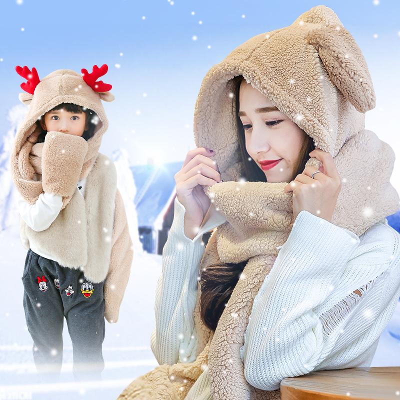 冬季围巾帽子手套三件 套一体女韩版可爱加厚保暖时尚卡通套装潮