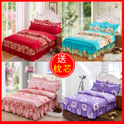 Thick cotton bedspread bed skirt four piece red wedding quilt set 1.8/2.0m sanding cotton bedding