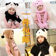 MS Korean scarf parent-child plus velvet in autumn and winter children scarf hat gloves three suit one hat