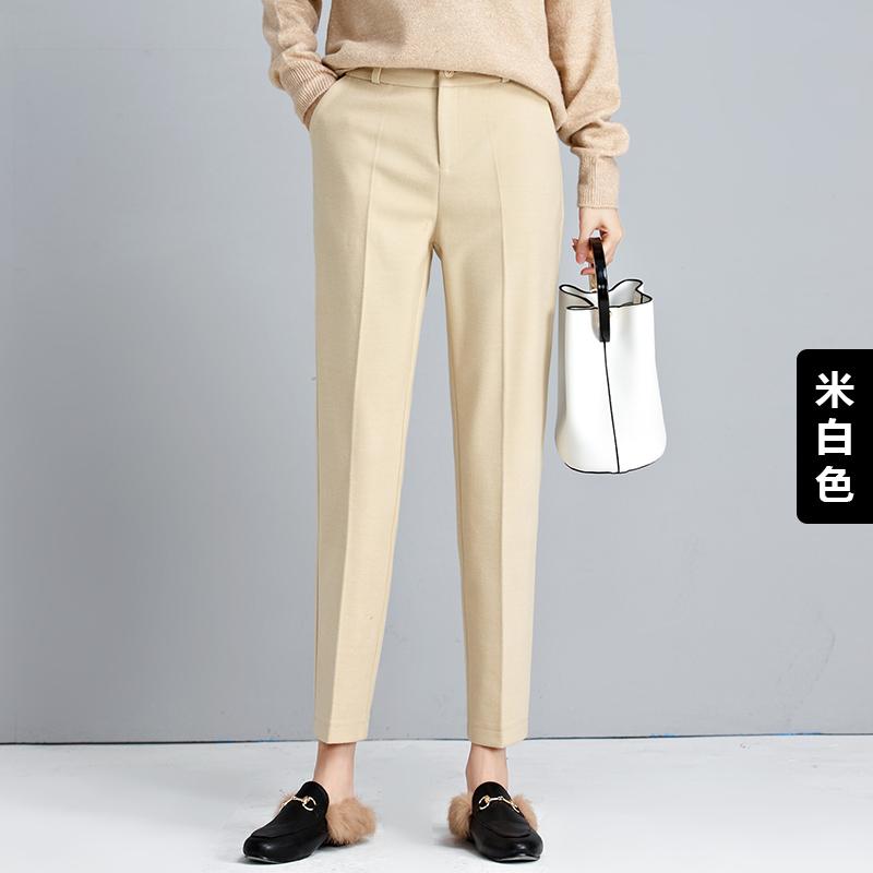 毛呢裤子哈伦裤女九分秋冬直筒萝卜裤宽松休闲长裤小脚韩版西装裤