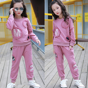 2017 New Kids Girls Korean autumn clothing female baby child long sleeved sweater sports suit two pieces