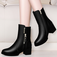 With cashmere boots with thick winter 2017 new female shoes with ladies shoes high-heeled boots warm boot