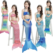Children wear skirt Princess Mermaid tail girl swimming beach bikinis three sets of clothes.
