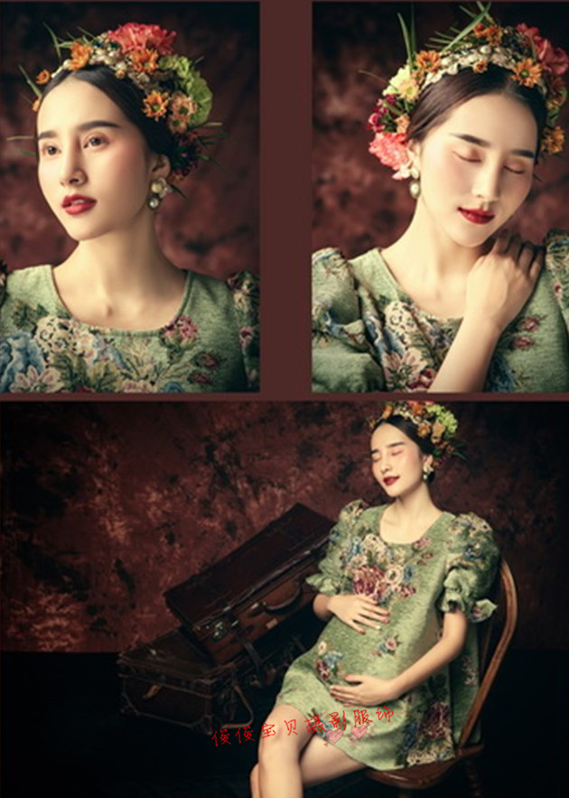 The new China pregnant women photography theme collection rural pregnant women restoring ancient ways of fine art photography photo studio pregnant women suits