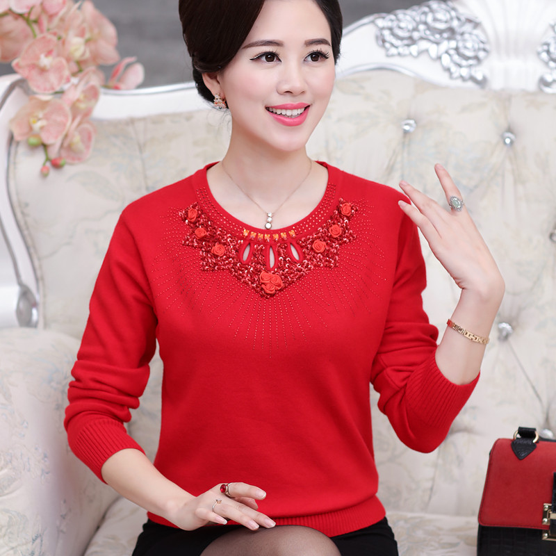 Autumn and winter thickened older women sweater mother dress T-shirt middle-aged backing sleeve head sweater sweater