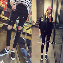 In spring and autumn the knee jeans girl tight man hole stretch slim feet pencil pants nine beggar pants boom