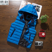 Autumn winter 12 13 down coat jackets boys vest 14 teen 15-18 detachable hood jacket men