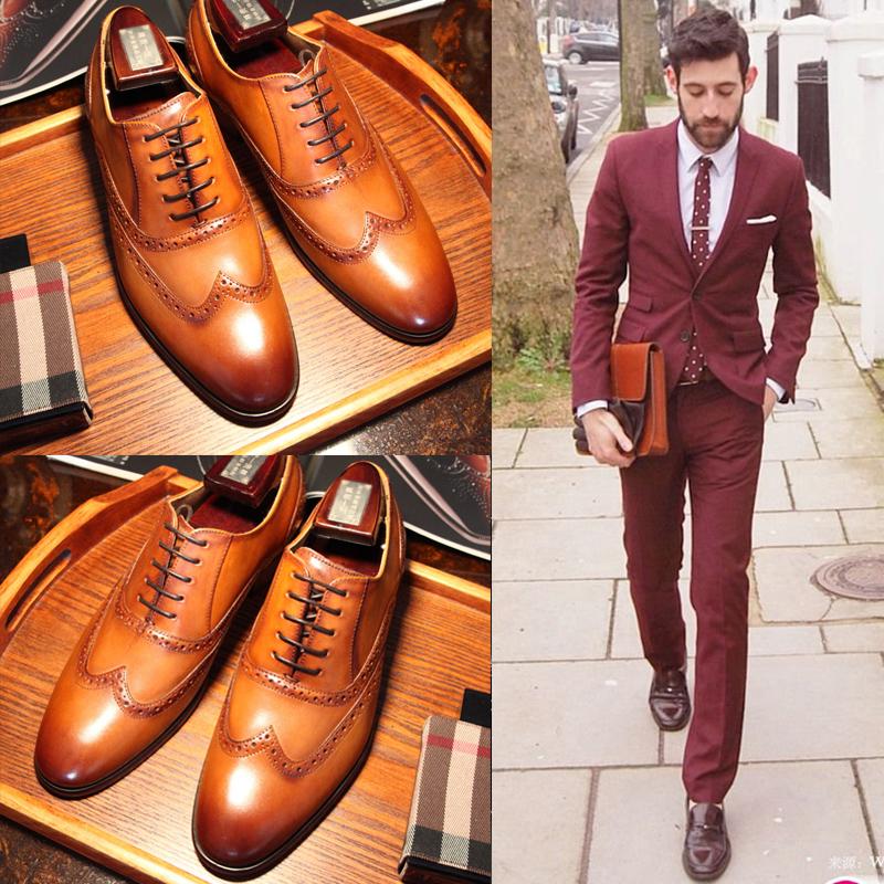 英伦布洛克雕花男鞋新郎结婚鞋真皮牛津鞋韩版商务正装皮鞋男尖头