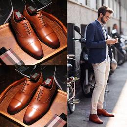 英伦男士商务正装皮鞋男尖头棕色真皮牛津鞋男固特异韩版潮流男鞋