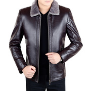 Winter new middle-aged haining men's leather fur leather suede jacket