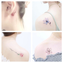50 tattoo stickers waterproof female persistent simulation Korean small fresh English foot clavicle sexy flower cherry