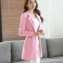 Pink spring and autumn fashion leisure suit jacket in the Korean version of the little suit women long career temperament Joker windbreaker