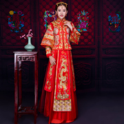 The new 2016 long winter wedding bride cheongsam dress Chinese clothing red Xiu he toast clothing thin dress female