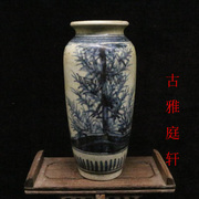 The special element of hand-painted blue and white bamboo pattern wax gourd bottle old goods Jingdezhen porcelain antique ornaments