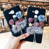 Huawei mate8 mobile phone shell female models Korea Rabbit plush Huawei mate7 three-dimensional flowers lanyard protection tide