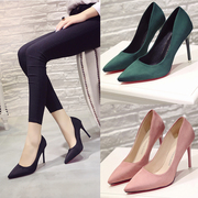 Spring and autumn shoes with ultra fine pointed female high-heeled shoes black suede shoes Korean wedding shoes with occupation in women