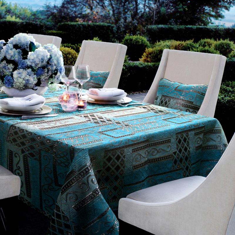 地中海蓝色桌布酒店外贸欧式新古典奢华餐桌布艺茶几盖布台布桌垫