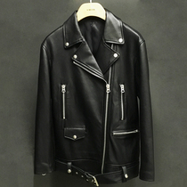 Fall winter long loose in the new MS Haining leather leather leather motorcycle jacket-star coat