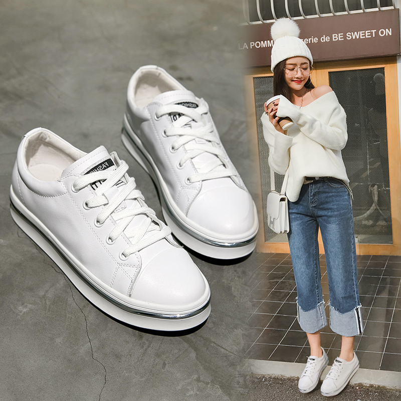 Spring/summer 2017 new Korean women with flat bottom shoes leather white shoes leather shoes casual shoes women wild