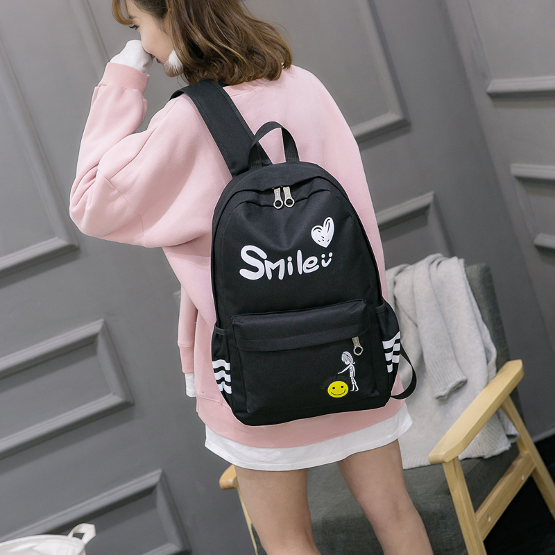 Shoulder bags, Japan and South Korea leisure bag at the beginning of high school students large-capacity bag small pure and fresh and joker canvas backpack