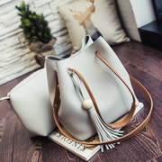 2016 new bucket bag bag female bun mother bag summer Korean fashion tassel Handbag Shoulder Satchel