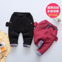 Thickened cashmere trousers for boys and girls and children in winter pants baby pants and fleece winter pants baby pp pants
