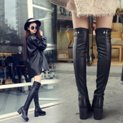 2017 new autumn and winter fashion boots boots thick warm female knee all-match high-heeled shoes