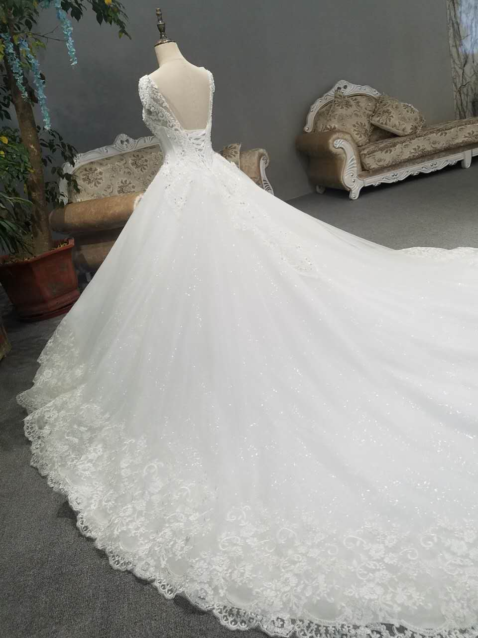 Beijing store leasing lace t-back tail wedding dress rental 2017 new style wedding dress rentals