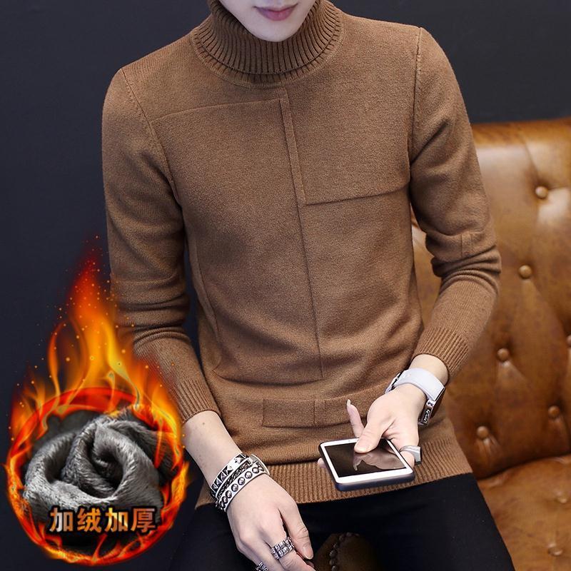 香港潮牌2017冬季新款男士高领加厚加绒毛衣韩版修身打底针织衫男