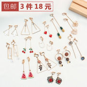 South Korean female non pierced ear clip temperament long ear clip earrings simple fake tassel ear clip earrings no hole