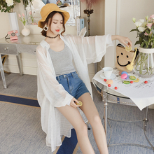 Chiffon white shirt female long-sleeved summer 2018 new sunscreen clothes in the long paragraph ins super fire bf thin coat