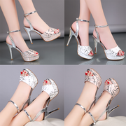 2017 new female high-heeled sandals summer sexy Korean fine with the word buckle waterproof mouth all-match sandals