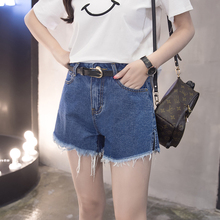 2017 new summer denim shorts female Korean large thin waist loose yards wide leg pants students all-match burr